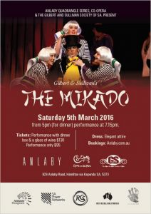 Anlaby Quadrangle Series - The Mikado 6th March 2016 - Flier