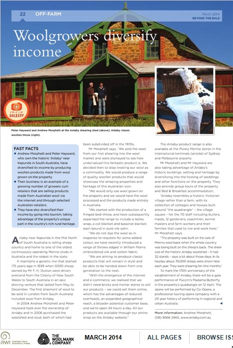 Featured Story in Beyond the Bale Magazine from Wool Innovations March 2014