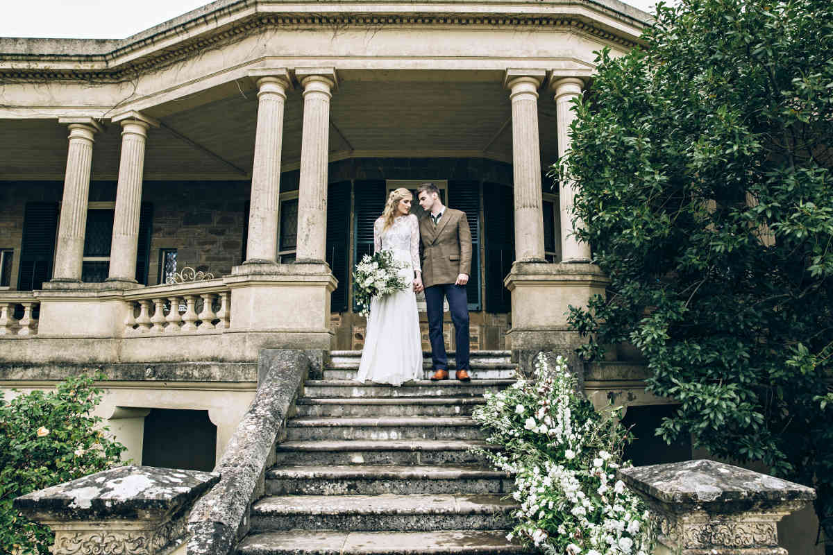 Bride & Groom on the Steps of the Historic Anlaby Homestead